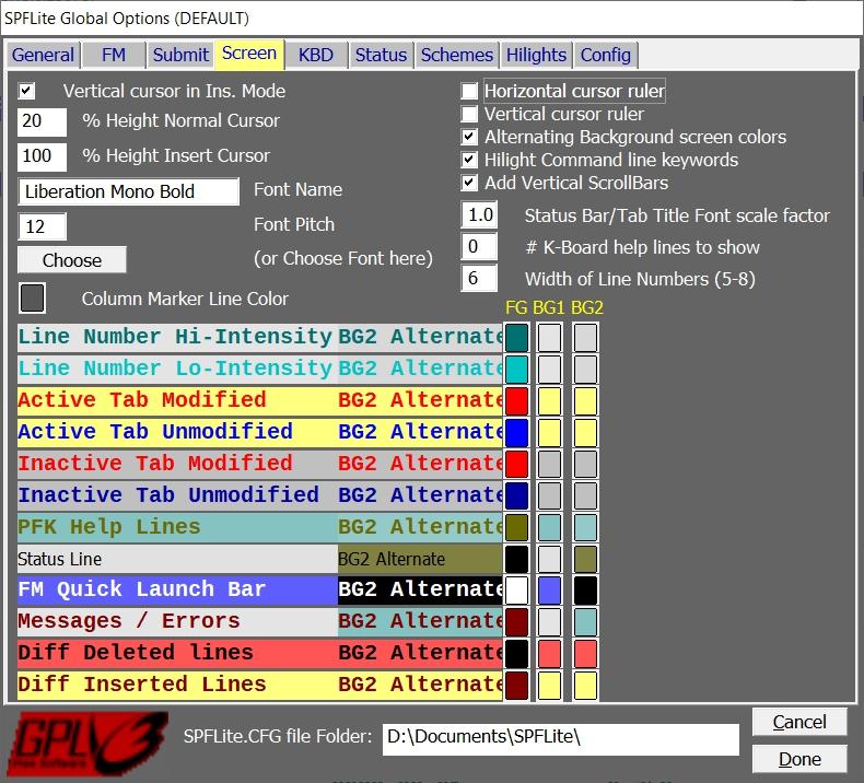 Options - Screen